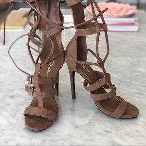 Nude Front Lace Up Gladiator High Boots!